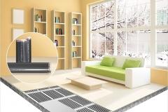 Электрический пленочный теплый пол в комнате