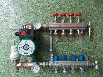 схема циркуляции воды в коллекторе с термостатическим клапаном