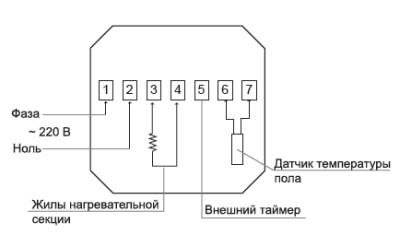 Схема присоединения к сети силовых проводов
