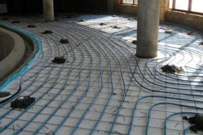 Монтаж бетонной системы теплого пола